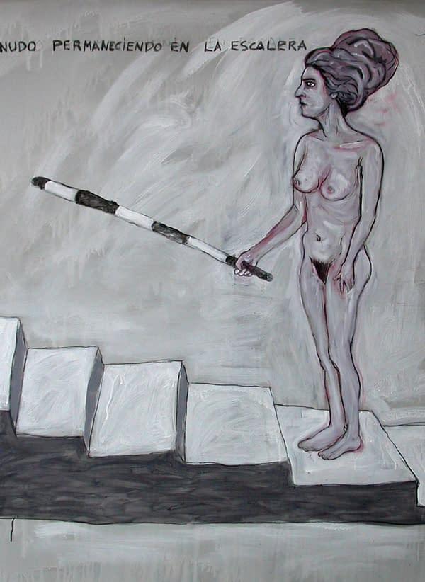 C002 Desnudo permaneciendo en la escalera 130 x 130