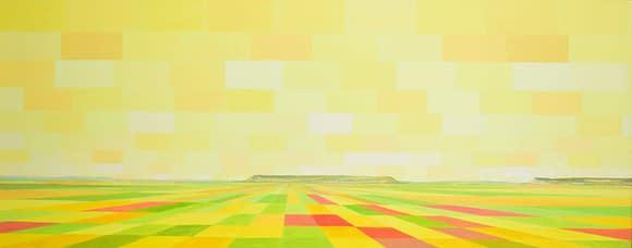 10 El paisaje de Castilla esta en el cielo. 40 X 100 cm.Oleo madera. scaled 1
