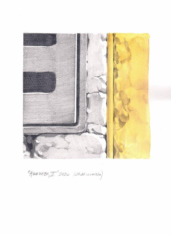 Comprar Obra de Arte de Miguel González Frade. Amenaza 2, 2020 acuarela y grafito papel 28,5x21 (15x15 dibujo)