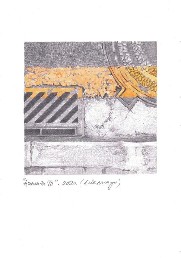 Obra de Arte de Miguel González Frade Amenaza 7, 2020 acuarela y grafito papel 28,5x21 (15x15 dibujo)