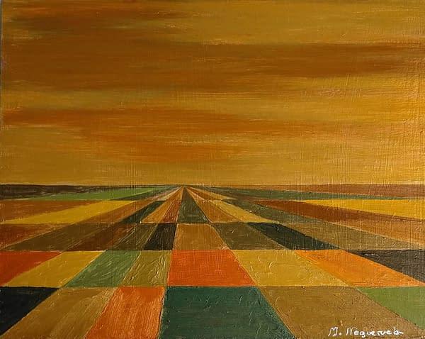 Autumn I, buy work by Marietta Negueruela. Autumn landscape with acrylic paint metallic, gold colors.