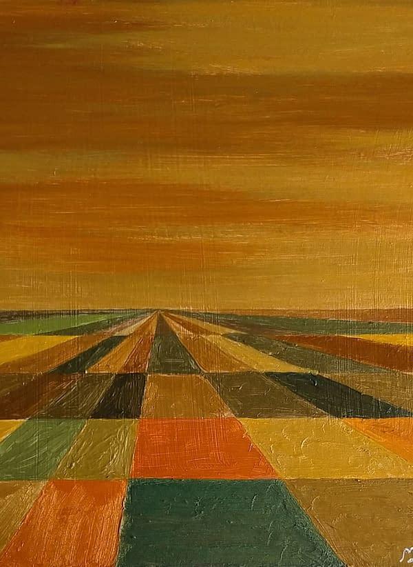 Otoño I, comprar obra de Marietta Negueruela. Paisaje de otoño con pintura acrílica colores metalizados, Oro.