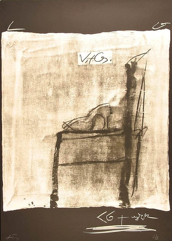 Variations-I-Chaise-de-profil1 , Obra gráfica de Antoni Tápies.