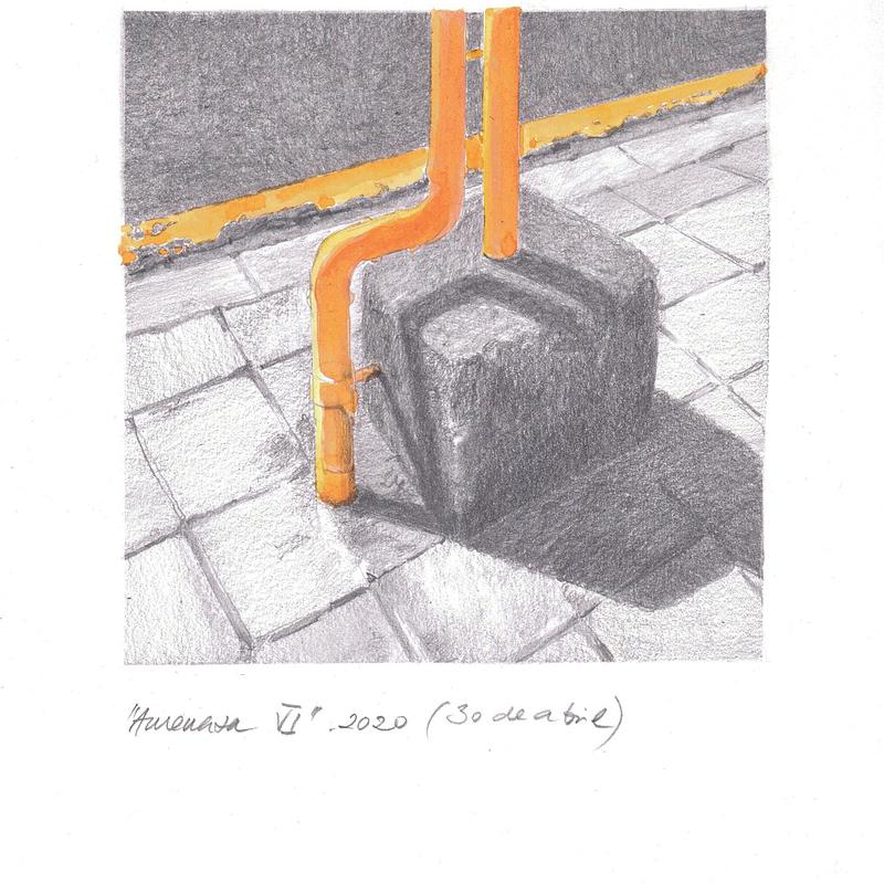 Obra de Arte de Miguel González Frad. Amenaza 6, 2020 acuarela y grafito papel 28,5x21 (15x15 dibujo)