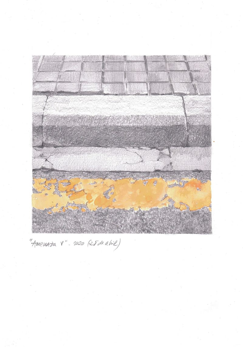Obra de Arte de Miguel González Frade. Amenaza 5, 2020 acuarela y grafito papel 28,5x21 (15x15 dibujo)