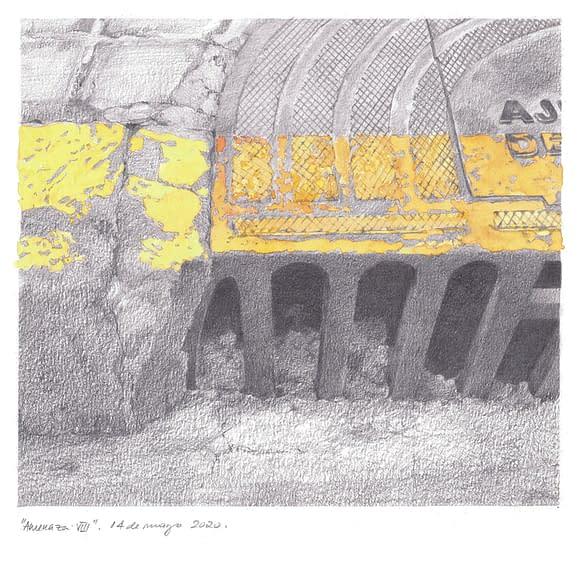 Amenaza 8 2020 acuarela y grafito papel 32x32 27x30 dibujo
