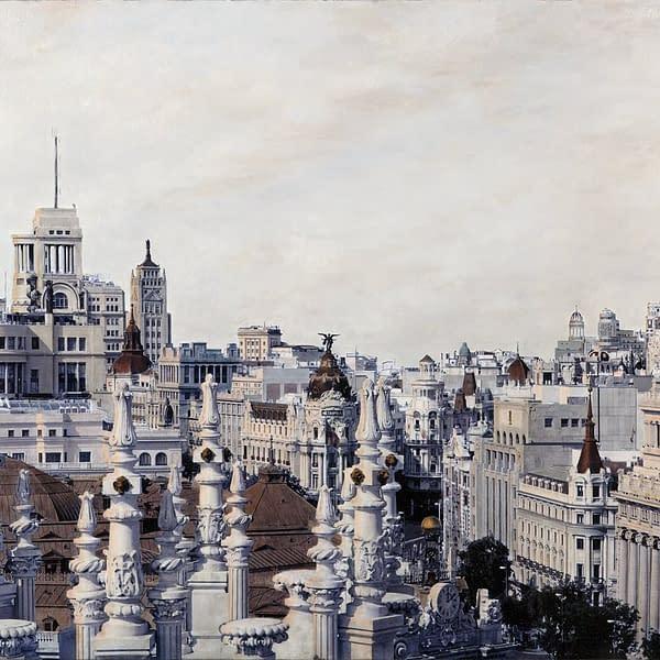 Pináculos, Torres y Cúpulas 82 x 146, obra de Carlos Arriaga. Fotografía pintada al óleo.