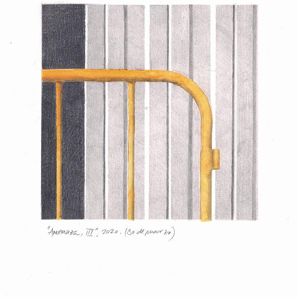 Comprar Obra de Arte de Miguel González Frade. Amenaza 3, 2020 acuarela y grafito papel 28,5x21 (15x15 dibujo)