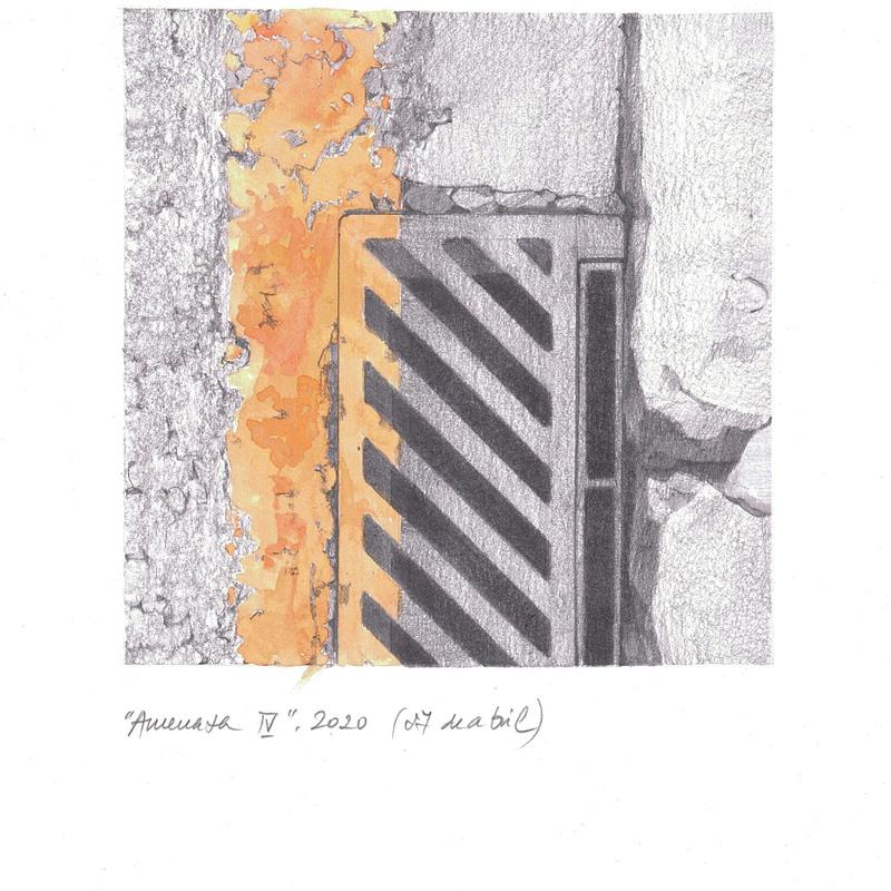 Obra de Arte de Miguel González Frade. Amenaza 4, 2020 acuarela y grafito papel 28,5x21 (15x15 dibujo)
